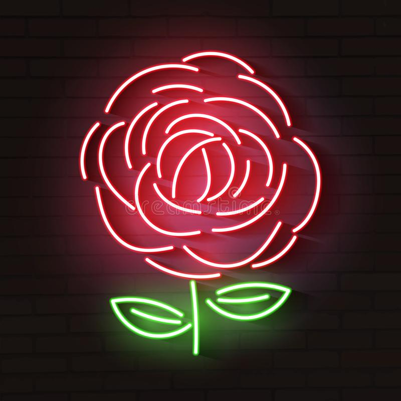 Rose red glowing neon icon. Glowing sign logo vector illustration