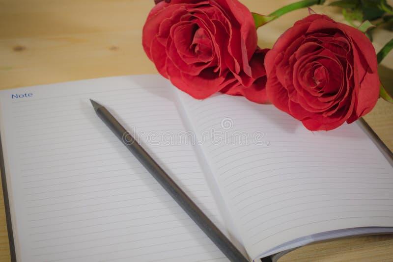 Rose roja en la reserva del cuaderno la historia imagen de archivo libre de regalías