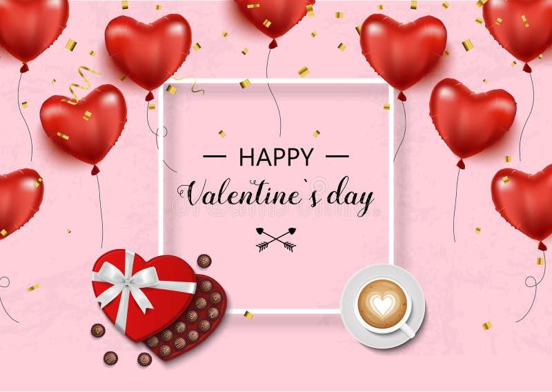 Rose roja Vector el fondo con los corazones, las cajas de regalo, confeti, arco y cinta, café y chocolate stock de ilustración