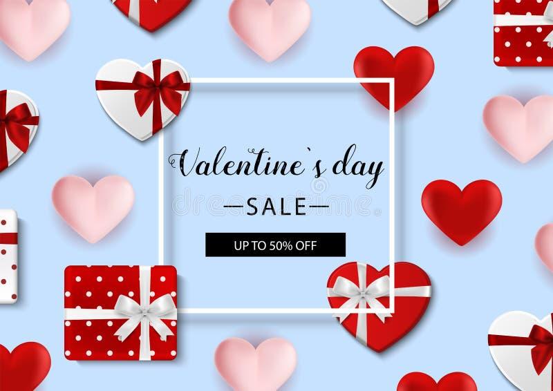 Rose roja Vector el fondo con los corazones, las cajas de regalo, el confeti, el arco y la cinta ilustración del vector