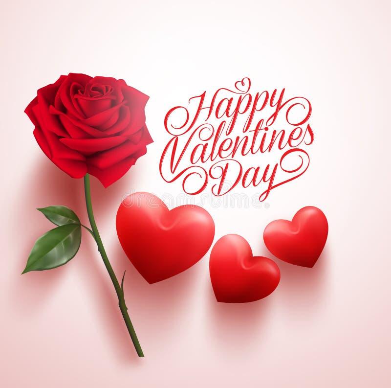 Rose roja y corazones con el mensaje feliz del día de tarjetas del día de San Valentín stock de ilustración