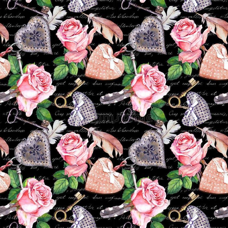 Rose rosa, cuori, piume dell'acquerello, chiavi Fondo nero con il testo scritto della mano Modello senza cuciture in annata illustrazione vettoriale