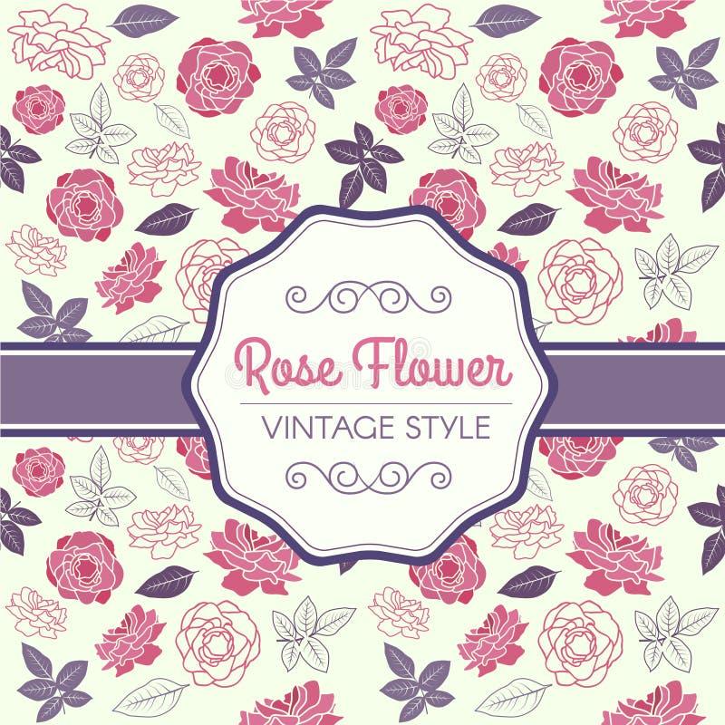 Rose rosada y el vector púrpura del modelo del vintage de la hoja diseñan stock de ilustración
