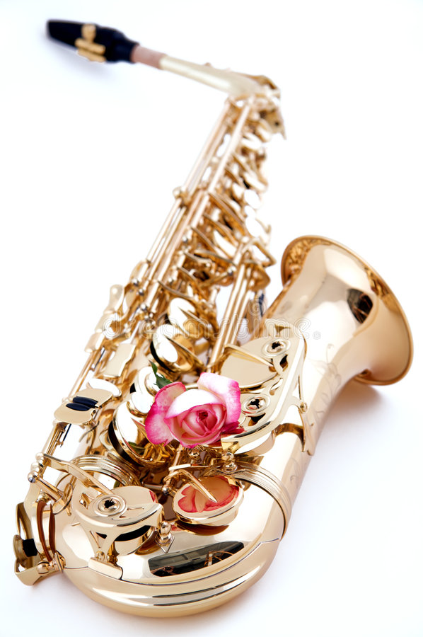 Rose Rose de saxophone d'or photos libres de droits