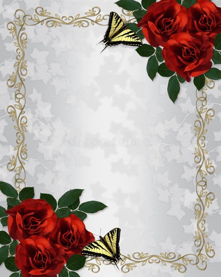Rose rosse che wedding il raso dell'invito illustrazione di stock