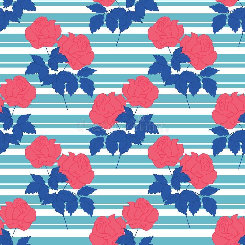 Rose rosse con le foglie blu in una progettazione senza cuciture del modello illustrazione vettoriale