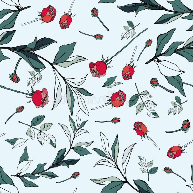Rose rosse con le foglie verdi su un fondo bianco Vect senza cuciture royalty illustrazione gratis