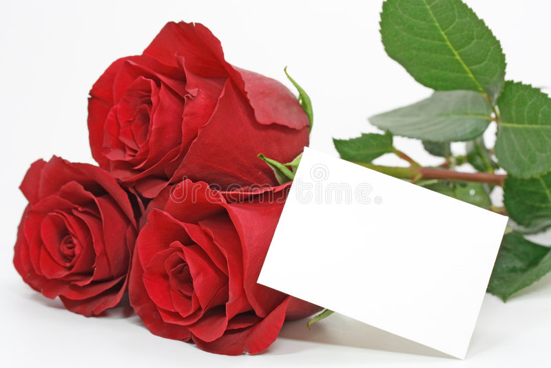 Rose rosse con una nota in bianco fotografie stock