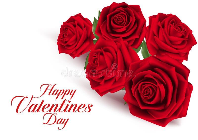 Rose rosse del dolce di giorno di biglietti di S. Valentino illustrazione vettoriale
