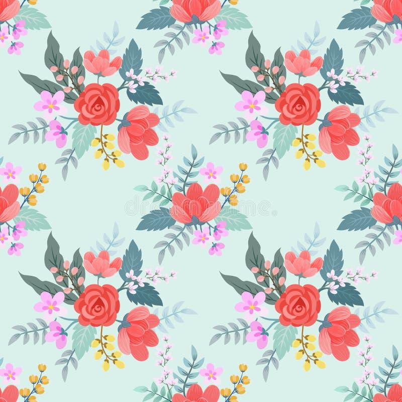 Rose rosse e fiori su colore d'annata illustrazione vettoriale