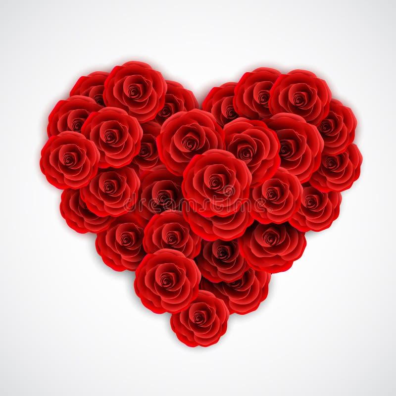 Rose rosse nella forma di cuore Elemento della decorazione di Rosa per l'invito di nozze, la cartolina, la cartolina d'auguri o i illustrazione di stock