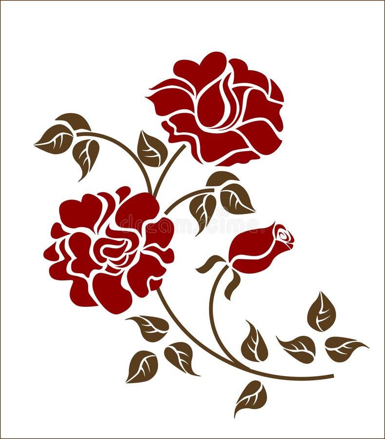 Rose rosse sui precedenti bianchi royalty illustrazione gratis