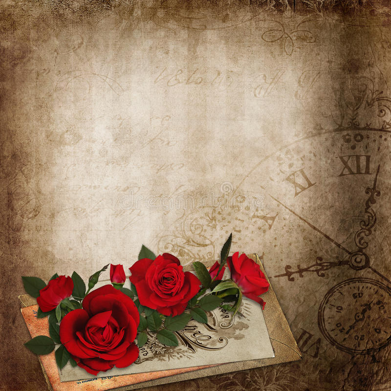 Rose rosse, vecchie lettere sui precedenti miseri d'annata royalty illustrazione gratis