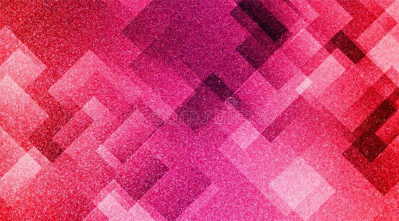 Rose rouge abstrait et modèle rayé et blocs ombragés par fond gris dans les lignes diagonales avec le rose rouge de cru et la tex image libre de droits