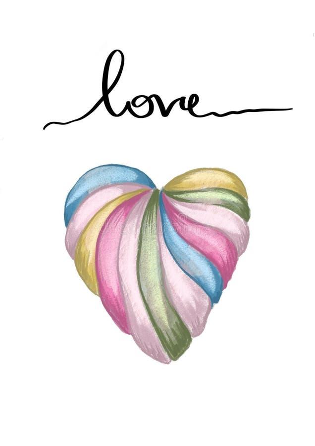 Rose rouge Carte de voeux Amour sensible Sucrerie et texte tirés par la main de caramel de forme de coeur de couleur d'eau illustration libre de droits