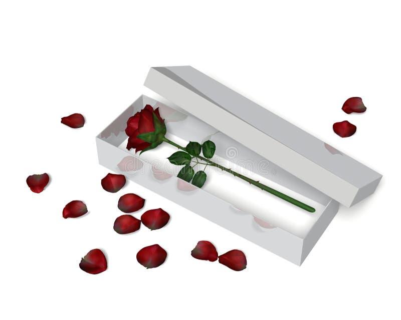 Rose rouge dans une boîte illustration stock