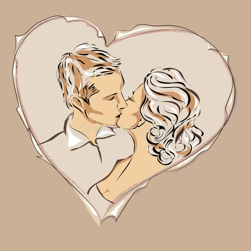 Rose rouge Garçon et fille Cartes d'amour illustration stock