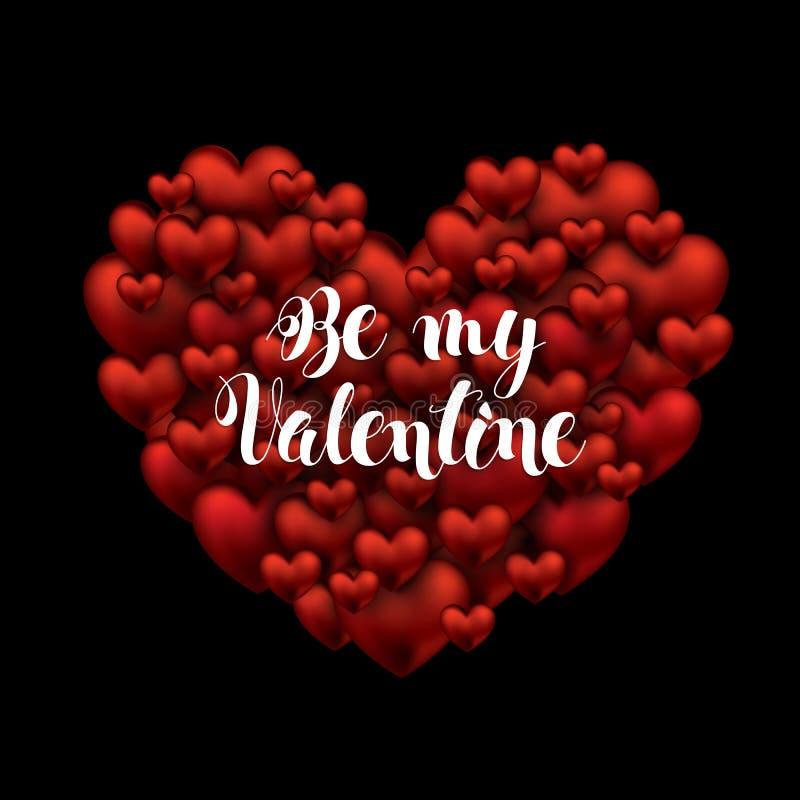 Rose rouge Soyez mon texte manuscrit de Valentine balayez le lettrage de stylo sur beaucoup de coeurs un grand coeur Illustration illustration libre de droits