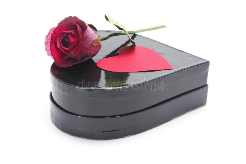 Rose rouge sur le cadre de cadeau images libres de droits