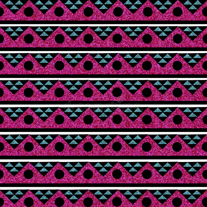 Rose sans couture de turquoise d'image de fond tribal de scintillement image libre de droits