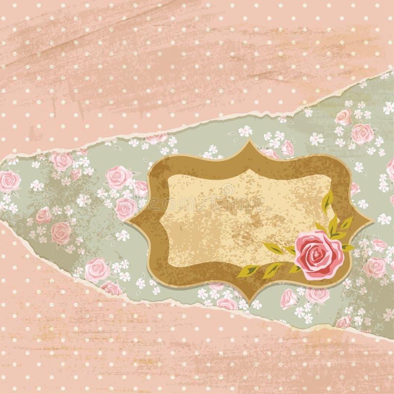 Rose scrap card 3 vector illustration