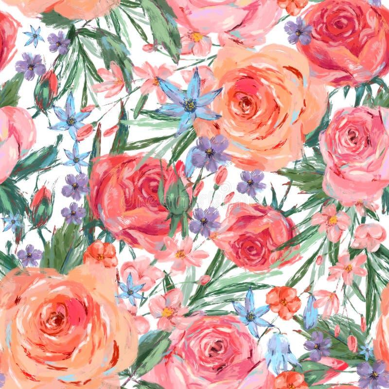 Rose senza cuciture d'annata di rosa del wuth del modello illustrazione di stock