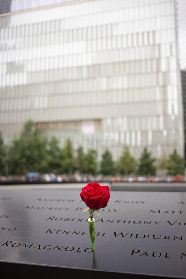 Rose, September 11th Memorial, World Trade Center, NYC stock image
