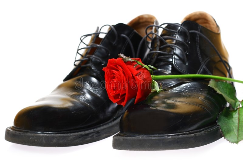 Rose and shoes royalty free stock image