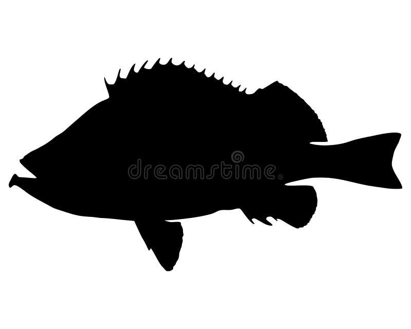 rose silhouette för fisk vektor illustrationer
