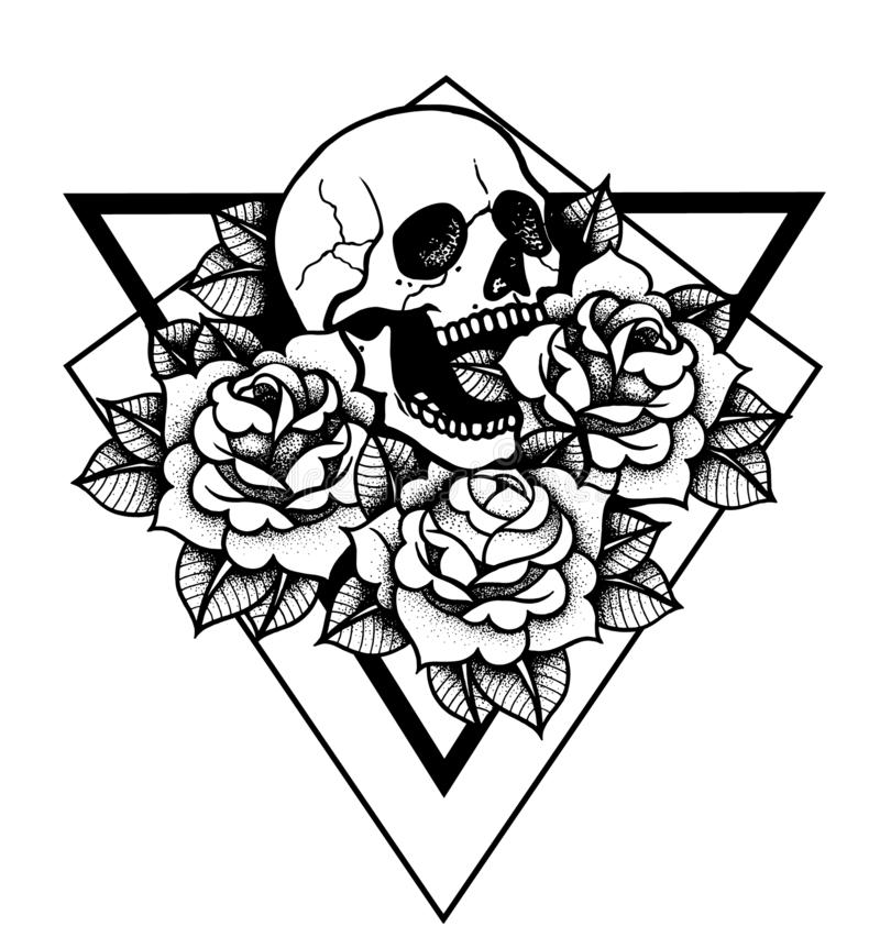 Rose and skull tattoo with sacred geometry frame. vector illustration