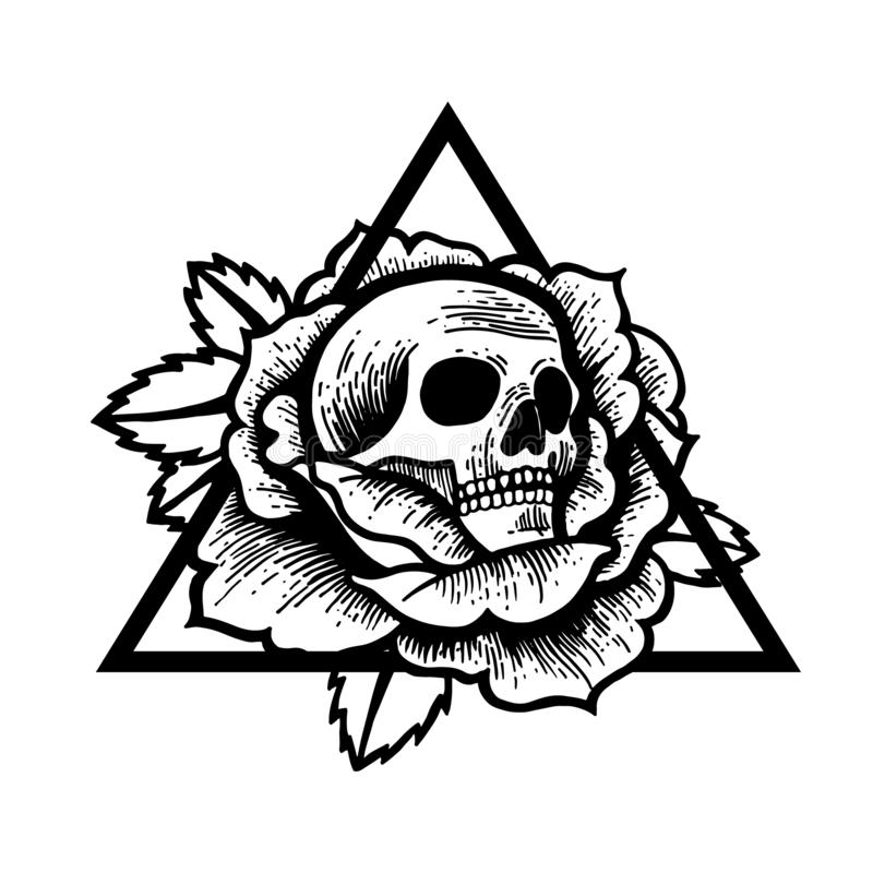 Rose and skull tattoo with sacred geometry frame. stock illustration