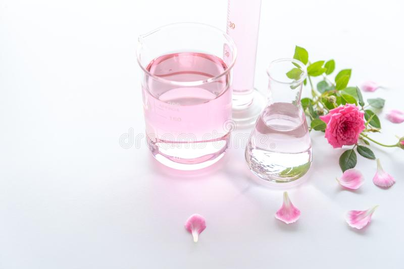Rose spa treatments on white wooden table. Healthcare and body therapy massage relaxation concept. Beauty and Healthy theme. Pure. Natural extract and Medical stock images