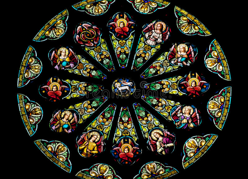 Rose Stained Glass Window St Peter Paul Church Stock Image