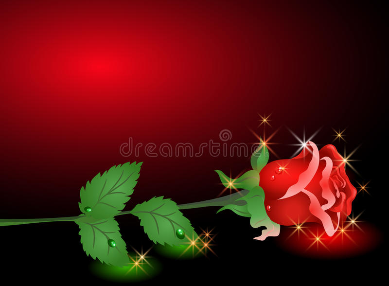 Rose and stars. Glowing background with rose and stars stock illustration