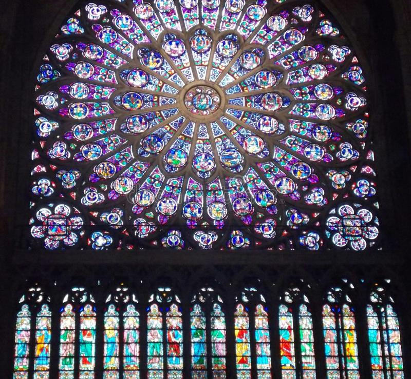 Rose strained glas window of Cathedral Notre Dame. Rose strained glass windows of Notre Dame Cathedral stock images