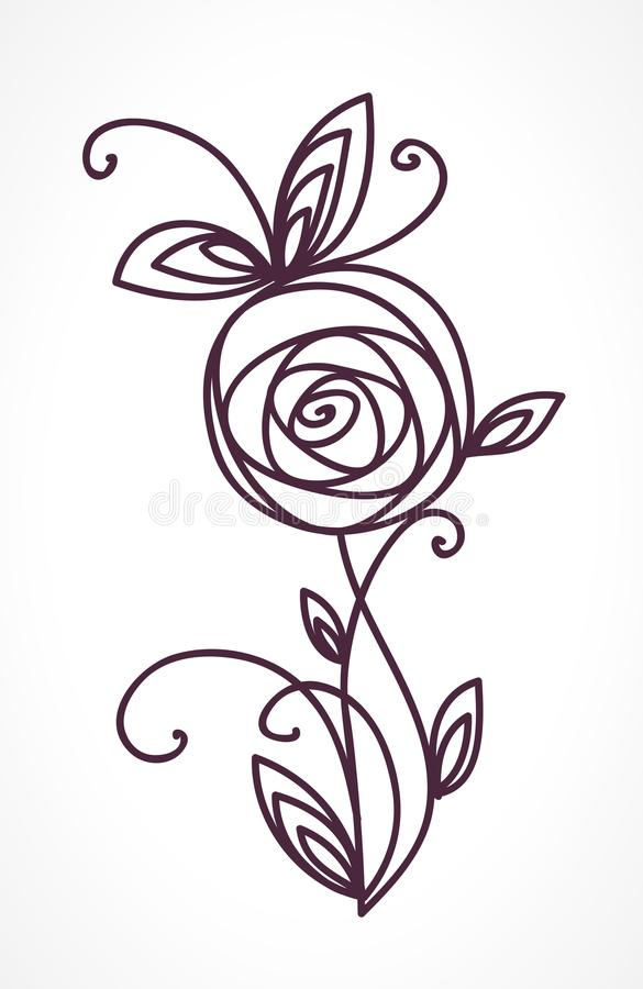Rose Stylized Flower Symbol Outline Hand Drawing Icon Decorative