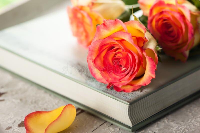 Rose su un libro fotografie stock