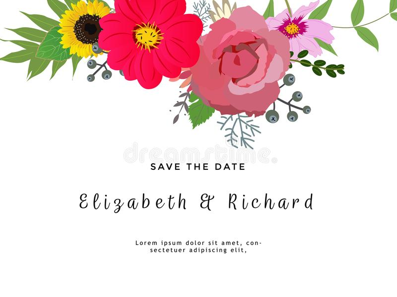 Rose, succulent bleu d'echeveria, sélection d'eucalyptus, brunia, saule de loup, carte rose de conception de vecteur de fleurs Ca illustration libre de droits