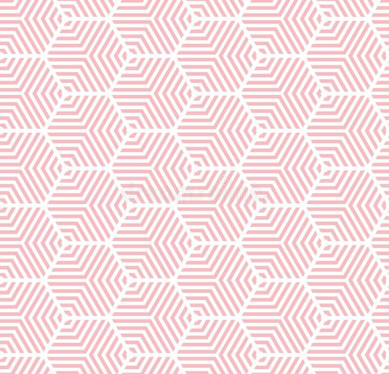 Rose sur la ligne hexagonale multi blanche fond sans couture de répétition de modèle illustration de vecteur