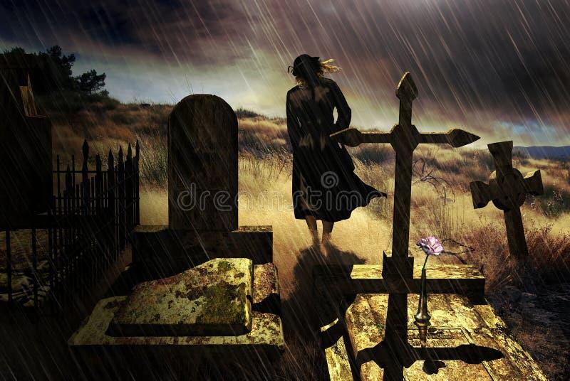 Rose sur la pierre tombale illustration de vecteur