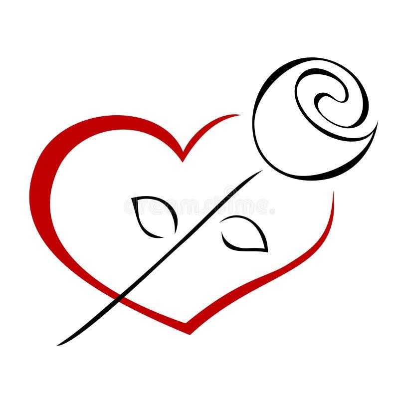Rose sur le coeur illustration stock