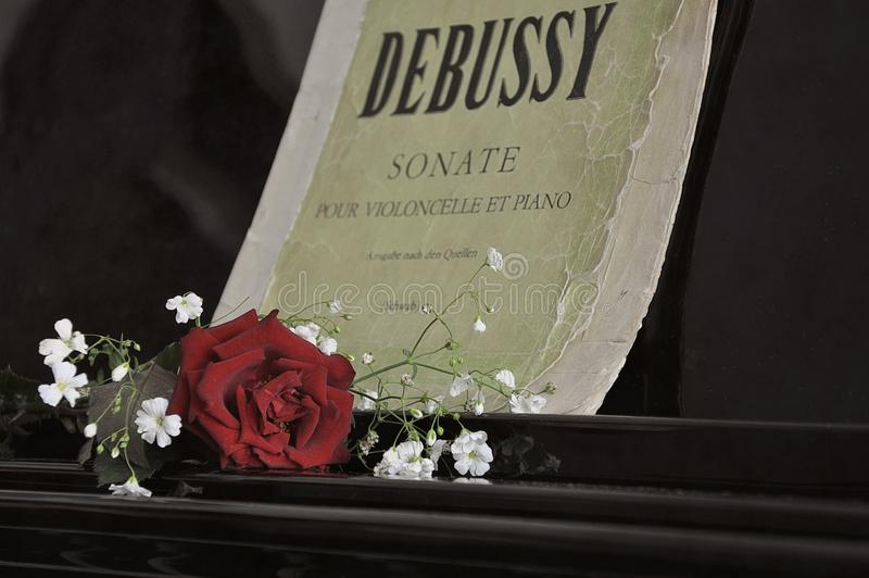 Rose sur un piano, vieilles notes photos libres de droits
