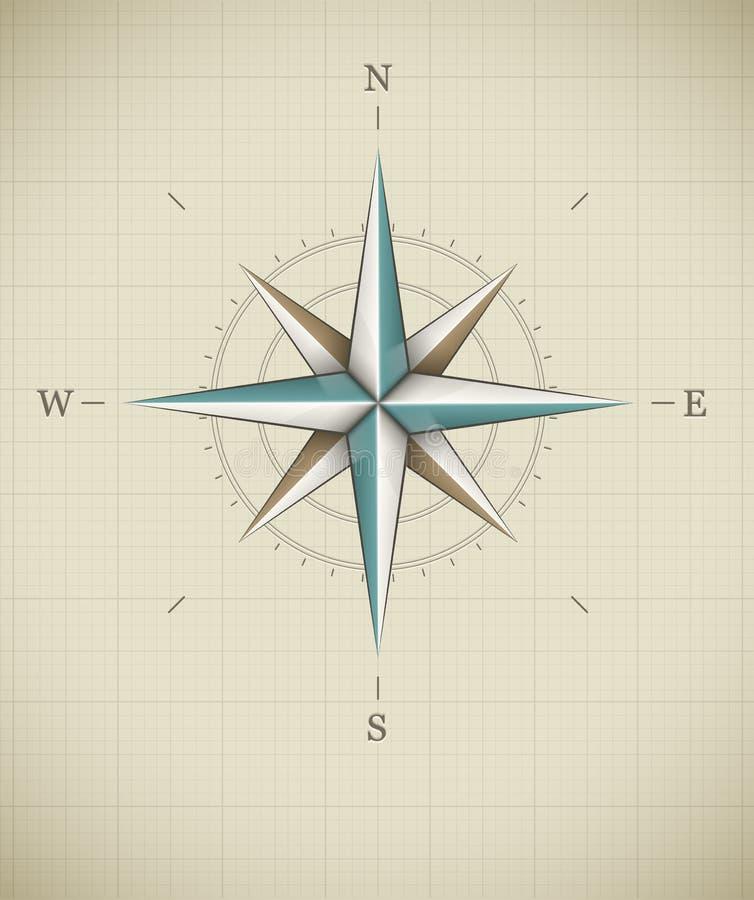 Rose symbol för antik wind för navigering vektor illustrationer