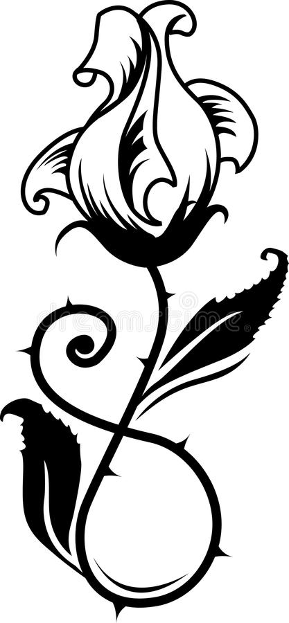 Download Rose tattoo stock vector. Image of decoration, natural - 25861048