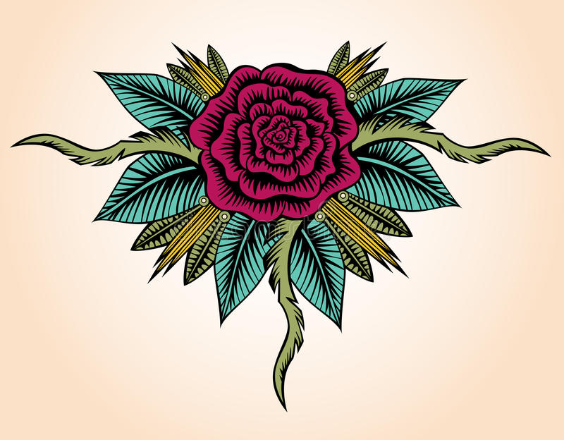 Rose Tattoo Style ilustração stock