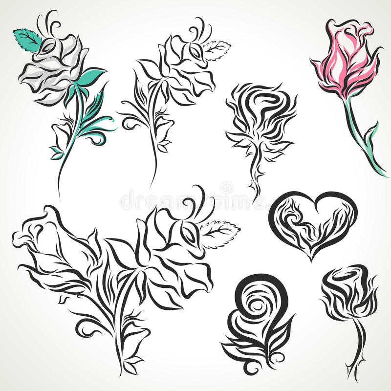 Line Art Rose Tattoo : Rose of tribal tattoo set stock vector illustration
