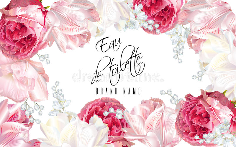 Rose tulip perfume banner. Vector eau de toilette luxury banner with garden roses and tulip flowers frame on white background. Can be used as floral design for stock illustration