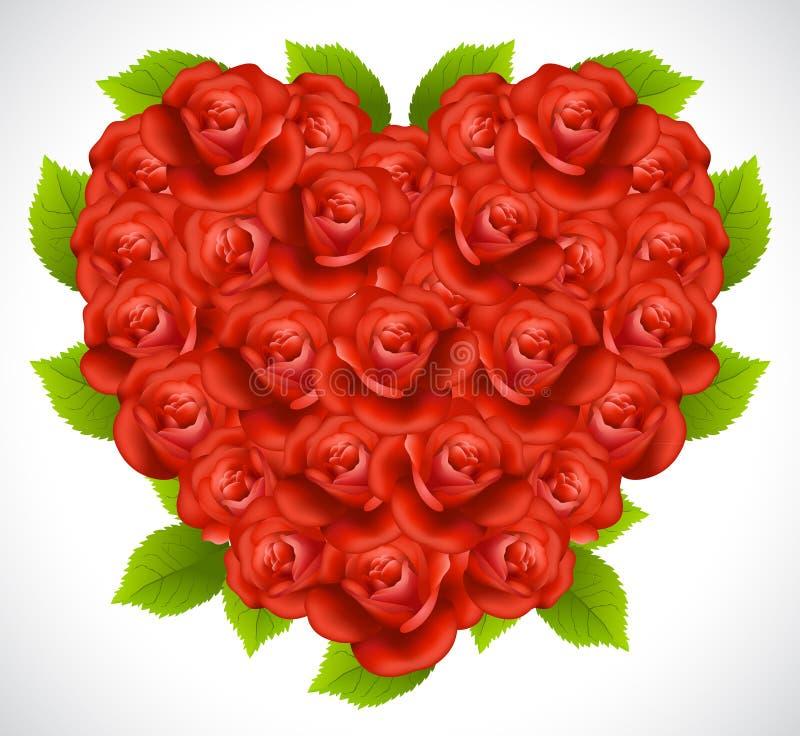 Rose in una forma di cuore illustrazione di stock