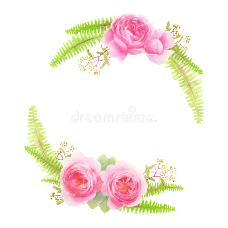 Rose und Farnkranz lokalisiert auf Weiß stockfoto