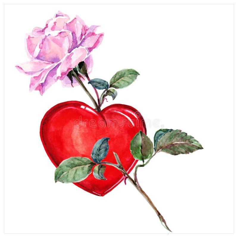 rose und herz aquarell stock abbildung illustration von handmade 49473625. Black Bedroom Furniture Sets. Home Design Ideas